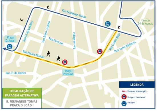 LINE 302 - ROUTE CHANGE - CONVERSION BY PEDESTRIAN AT THE WEEKEND - RUA PASSOS MANUEL - PORTO