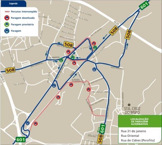 freixieiro mapa LINHAS 508 601   ALTERAÇÃO PROVISÓRIA DE PERCURSO EN 107  freixieiro mapa