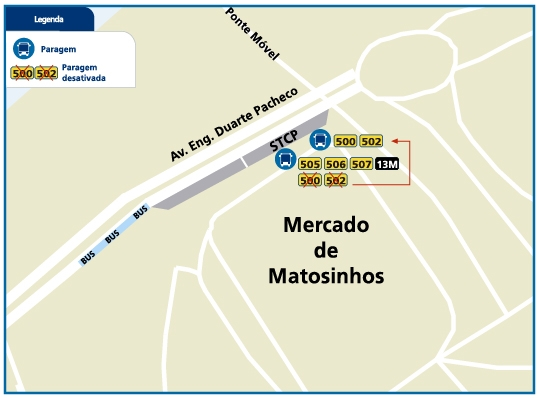 LINES 500-502 - NEW STOP LOCATION - MATOSINHOS MARKET INTERFACE